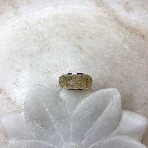 Sideways rutilated quartz silver ring