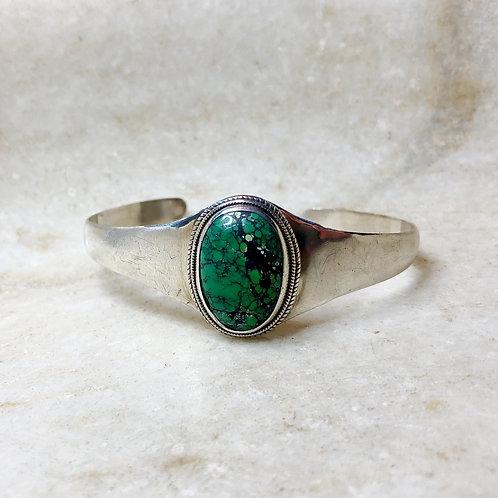 Green Tibetan turquoise cuff bracelet