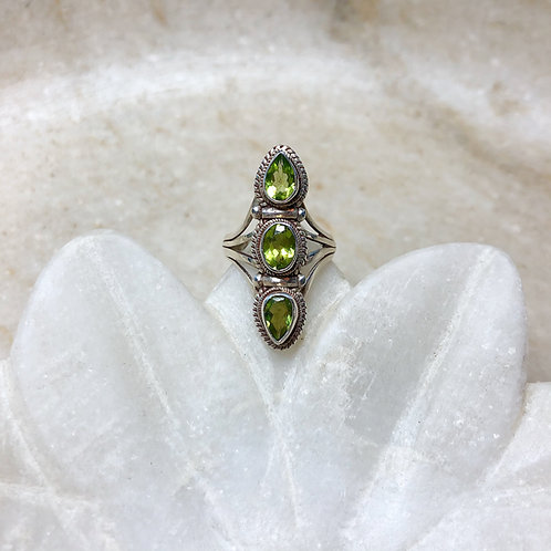 Triple peridot silver ring