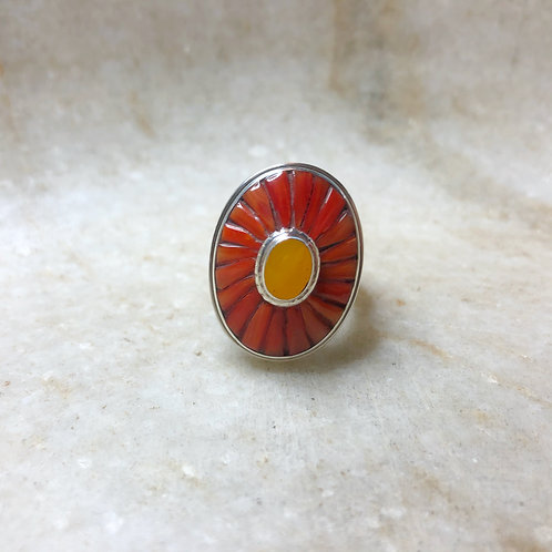 Coral and amber silver ring