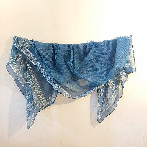 Blue net cotton shawl