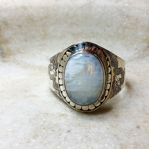 Moonstone silver cuff bracelet