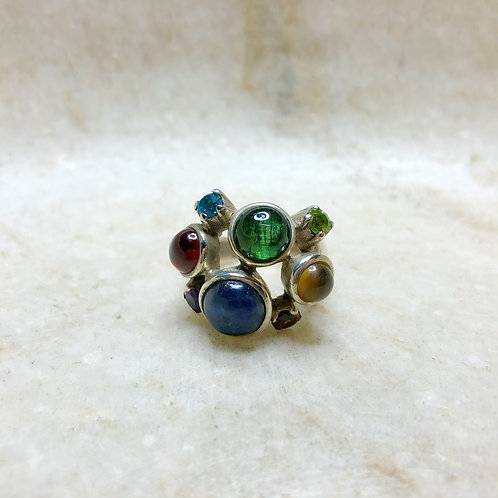 Mixed multi stone silver ring