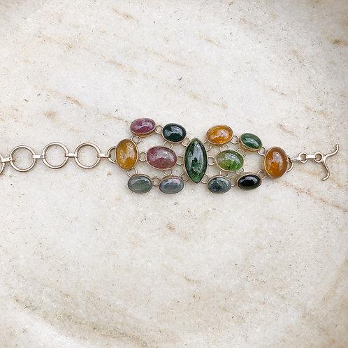 Green and pink tourmaline bracelet
