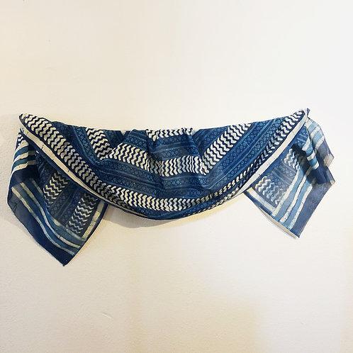 Indigo block print cotton scarf