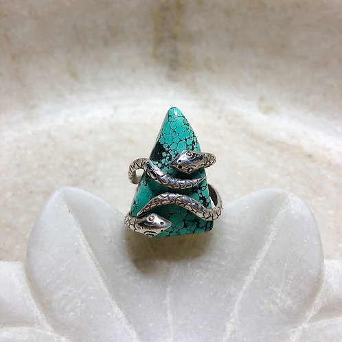 Serpents with turquoise silver ring