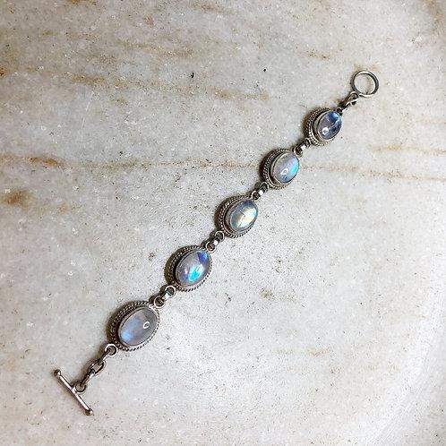 Blossoms of luminous rainbow moonstone bracelet
