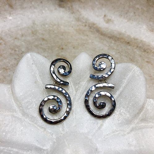 Opposing swirls silver post earrings