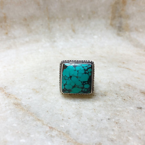 Square Tibetan turquoise silver ring