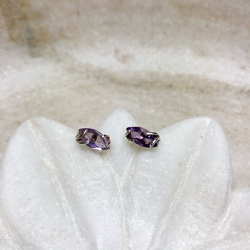 Elegant oval amethyst silver stud earrings