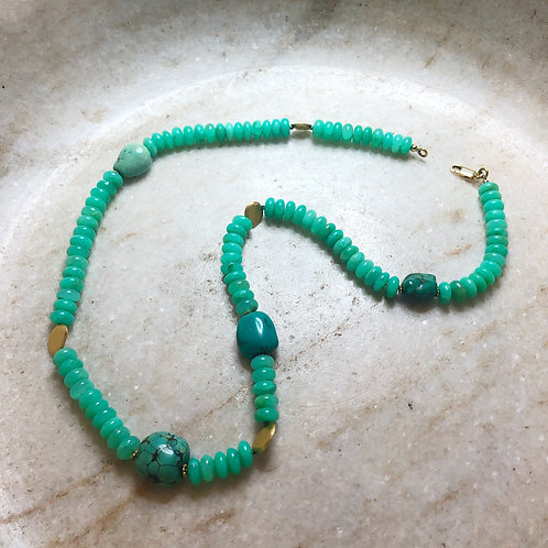 Chrysoprase turquoise gold necklace