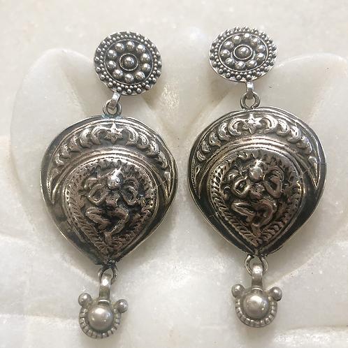 Kali in tribal silver earrings