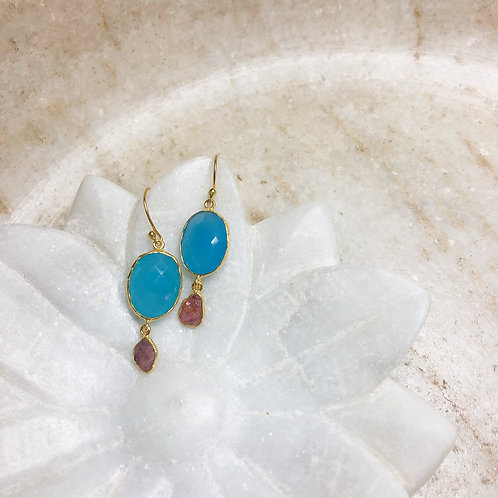 Chalcedony and pink tourmaline gold earrings