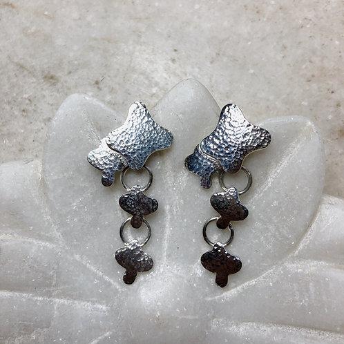 Silver stars post earrings