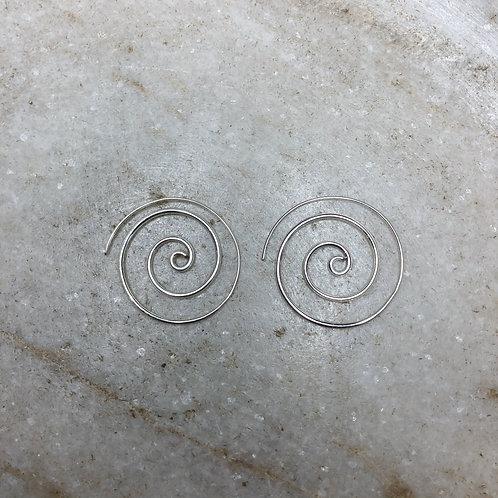 Large silver spiral hoop earrings
