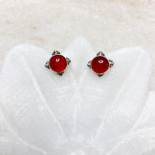 Carnelian silver stud earrings