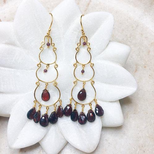 Garnet drops in gold earrings