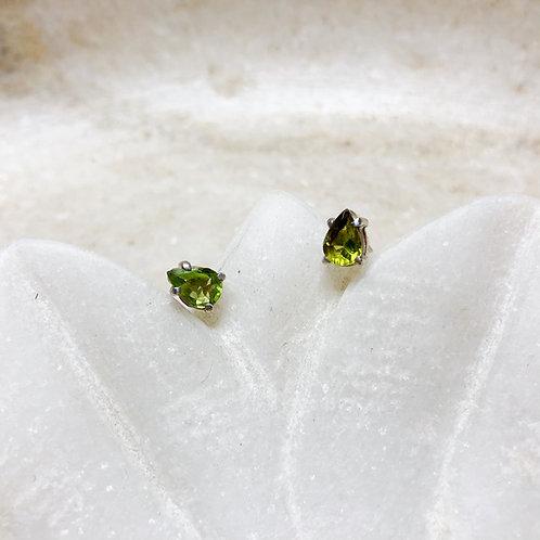 Peridot teardrop silver stud earrings