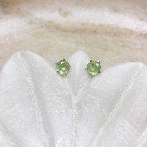 Prehnite silver stud earrings
