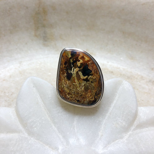 Glimmering late autumn stone pietersite silver ring