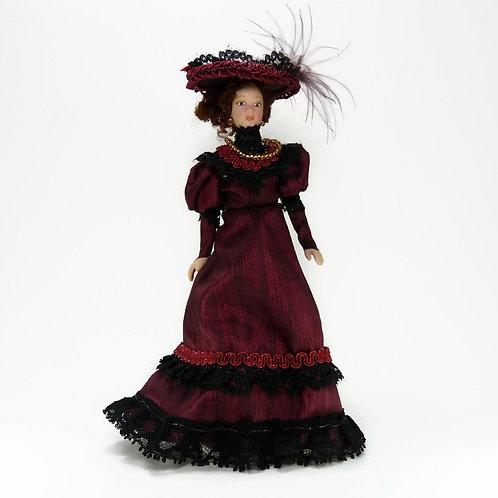 Boneca vestido bourdeux