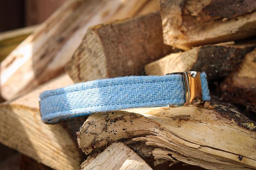 Baby Blue Harris Tweed Collar