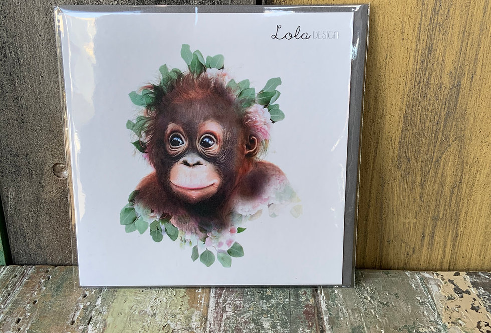 Blank Cute Ape Card   Greetings Cards   Featuring cute baby ape   Ladies Boutique and Giftware   Moulina