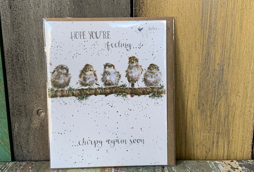 Wrendale Get Better Soon Card   Greetings Cards   Featuring 5 sparrows sitting on a branch   Boutique & Giftware   Moulina