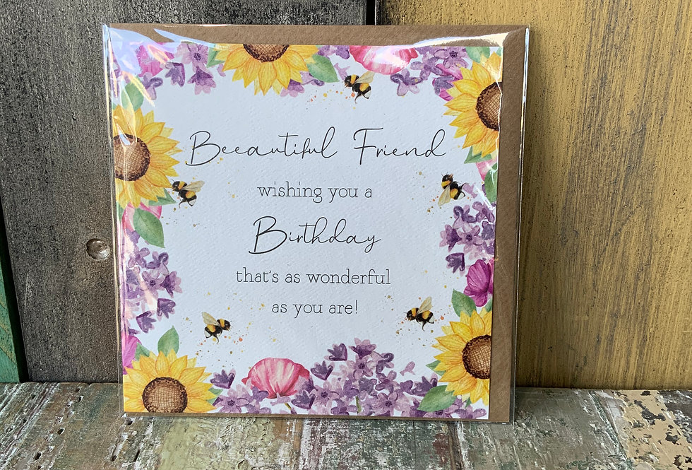 Friend Birthday Card | Greetings Cards | Featuring a beautiful floral border | Ladies Boutique and Giftware | Moulina