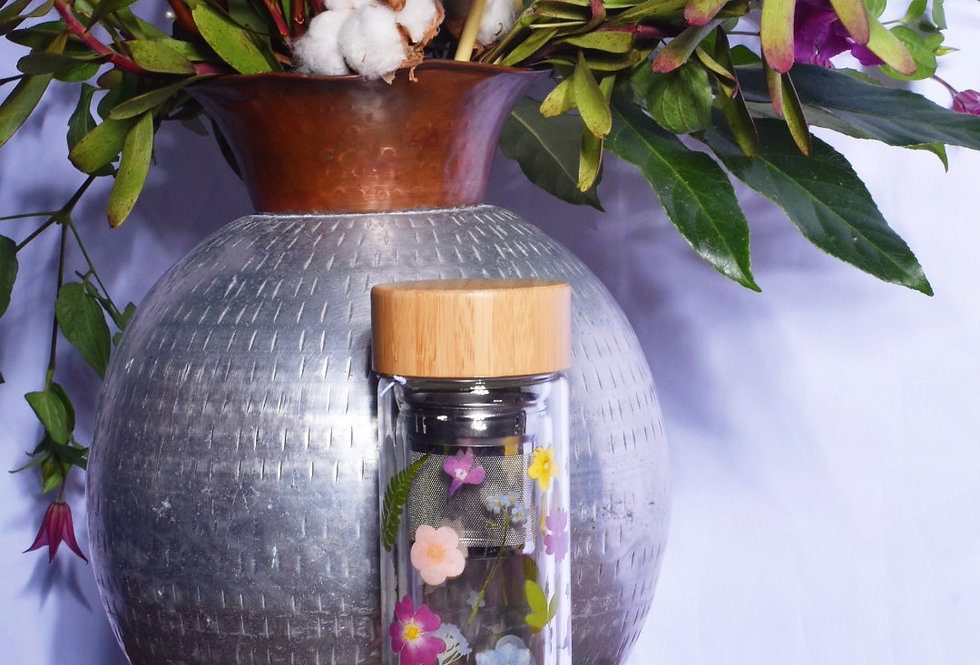 Glass Floral Water Bottle With Infuser | Gifts | Ladies Boutique & Giftware | Moulina