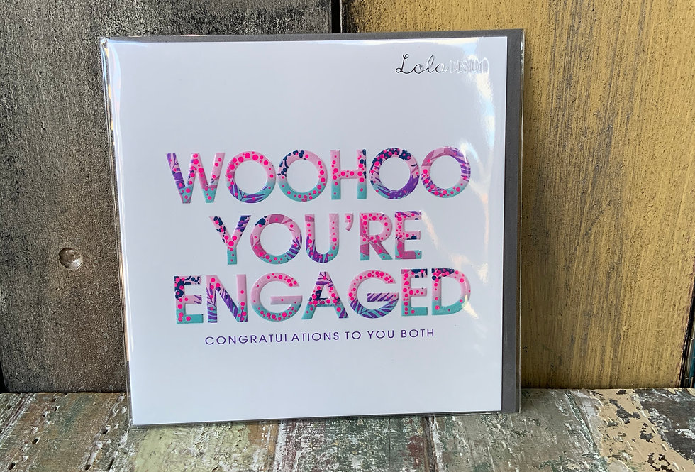You're Engaged Card   Greetings Cards   Featuring text 'Woohoo You're Engaged'   Ladies Boutique and Giftware   Moulina