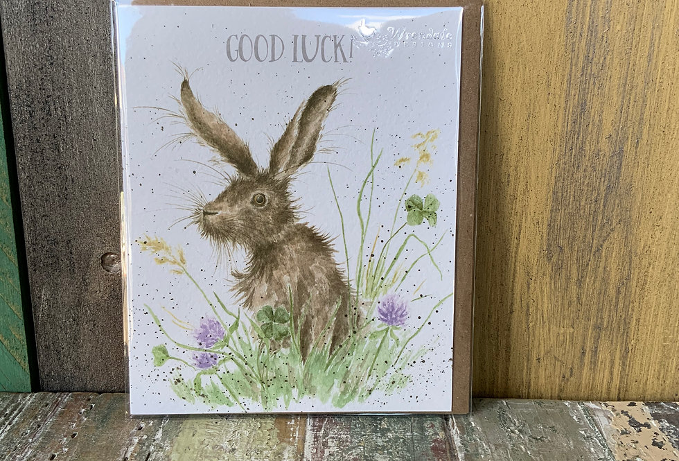Wrendale Good Luck Card   Greetings Cards   Featuring a hare surrounded by pretty flowers   Boutique & Giftware   Moulina