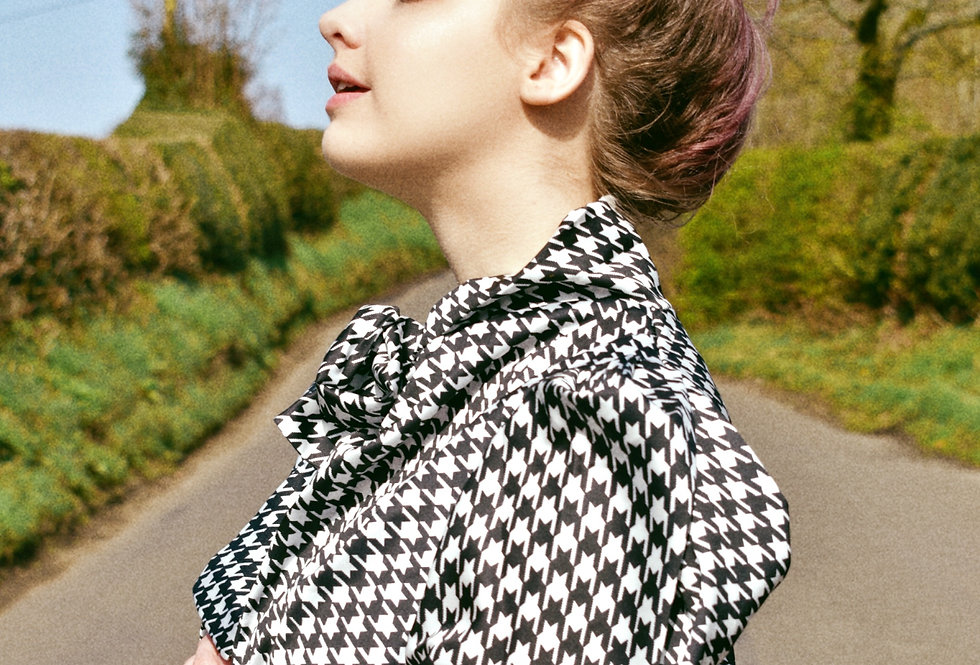 Black and White Houndstooth Pussy Now Shirt   Moulina   Ladies Clothing Macclesfield   Shop Online or at our Boutique!   1