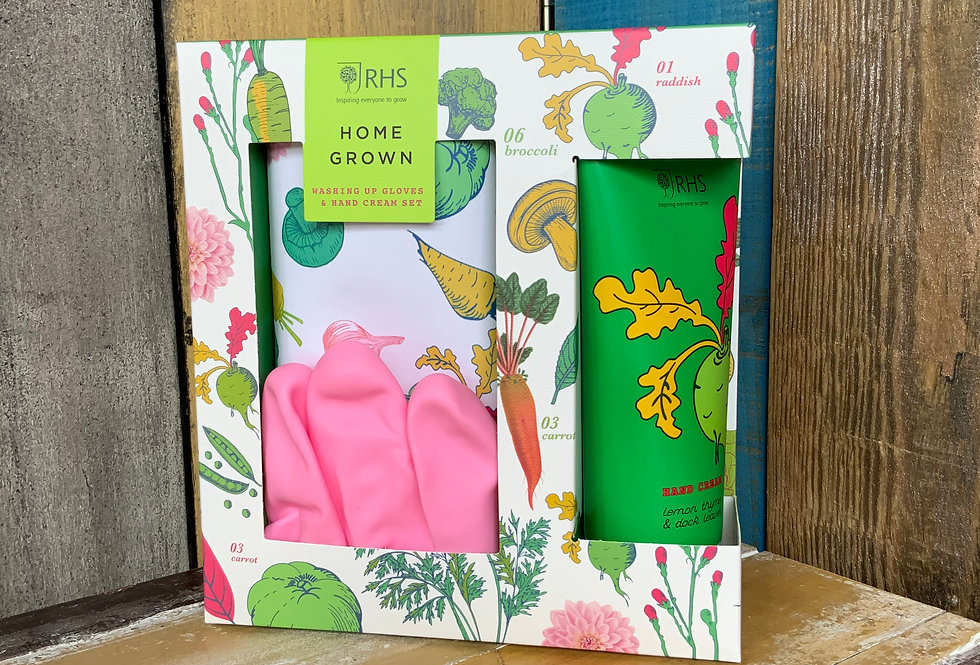 RHS Home Grown Washing Up Gloves and Hand Cream Set