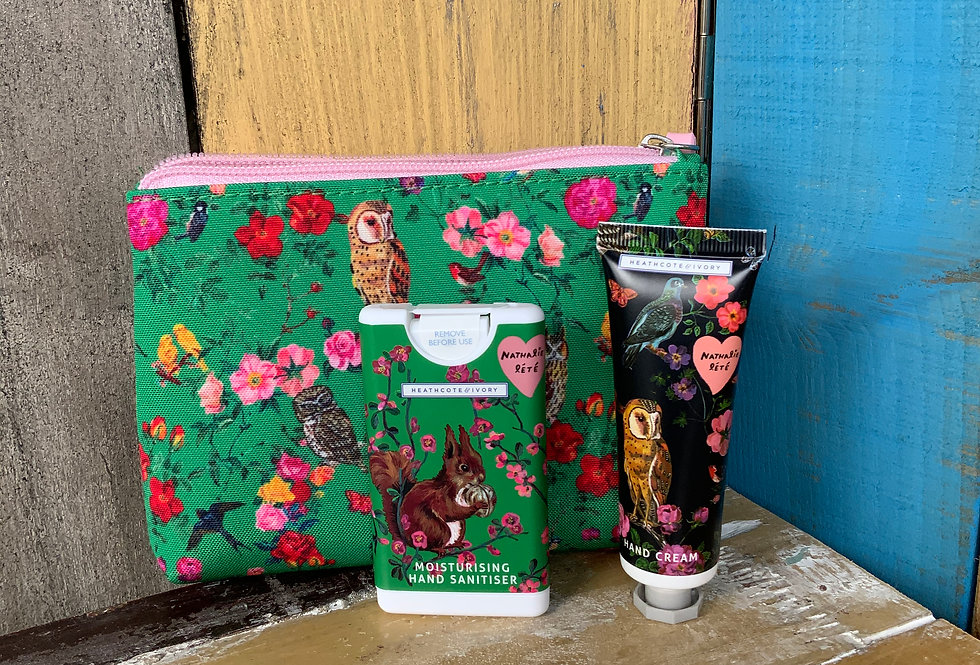 Green Forest Folk Cosmetic Pouch with Hand Care set