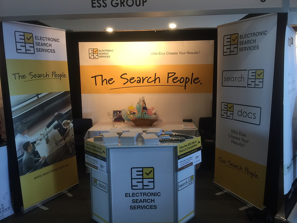 ESS's trade show stand showing the new messaging