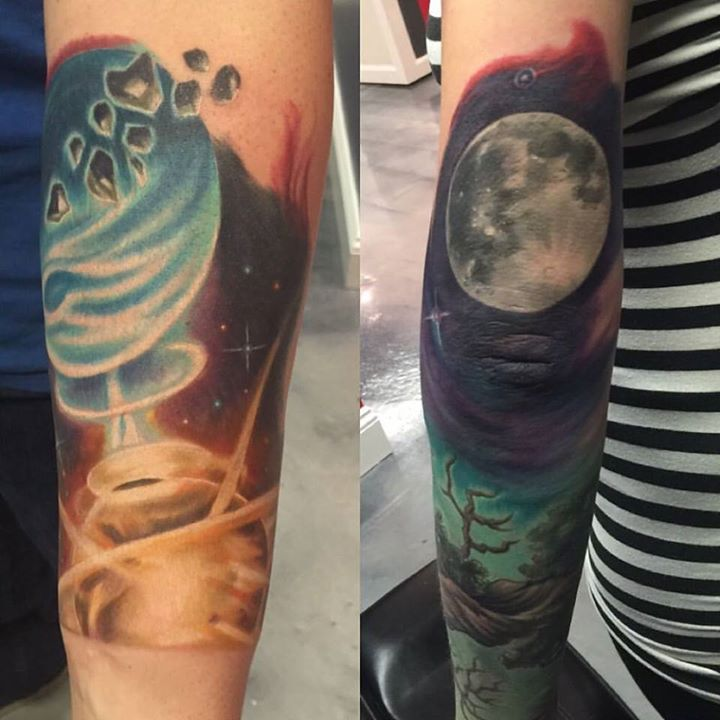 Some space work this past week. Colliding planets(left) moon(right) Work in progress