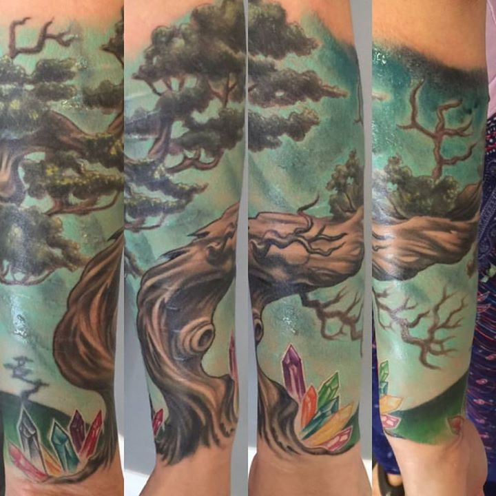 Fun gnarly tree I got to finish up the other day. Will be adding a little more background later as w