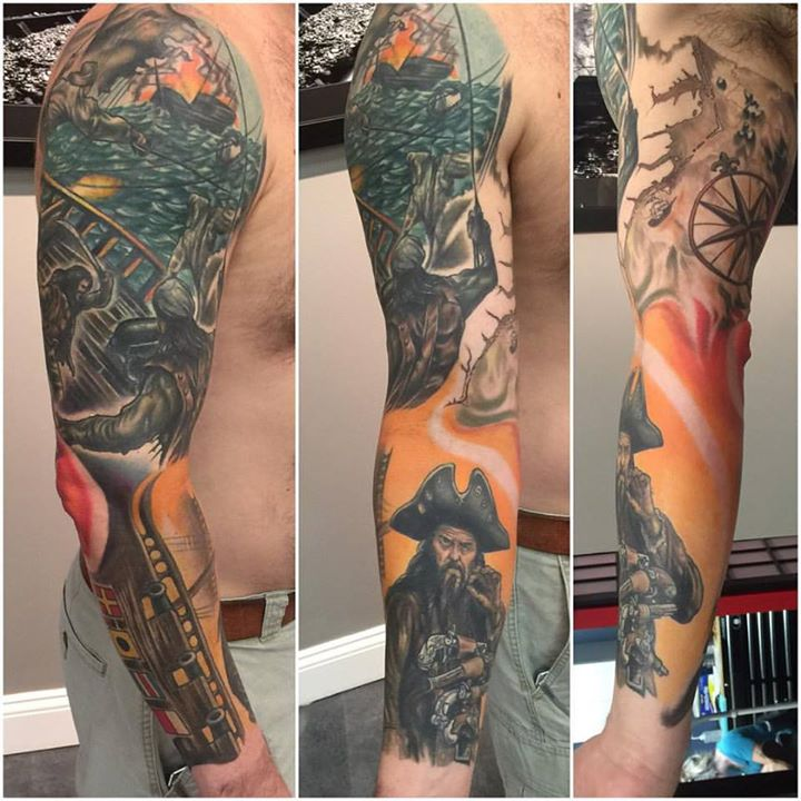Fun sleeve I finally finish. Awesome client. 10months of work once a month and large cover up of old