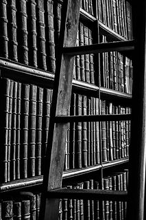 black-and-white-book-bindings-book-stack