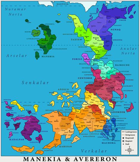 Der Kontinent Avereron (politisch)