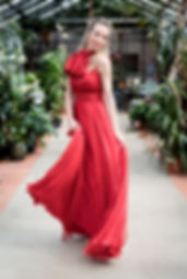 Robe longue rouge en mousseline de soie
