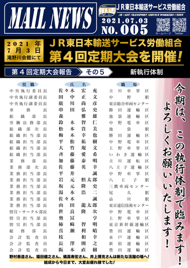 005号 第4回 定期大会報告 その5(新役員体制)