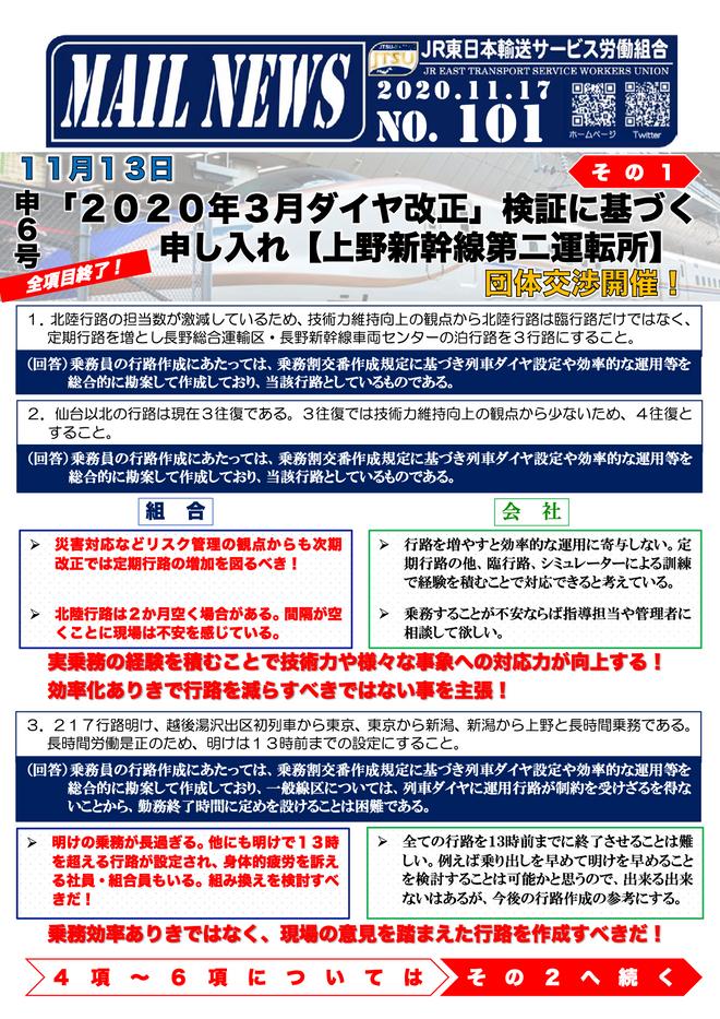 101号 申6号「2020年3月ダイヤ改正」検証に基づく申し入れ【上野新幹線第二運転所】その1
