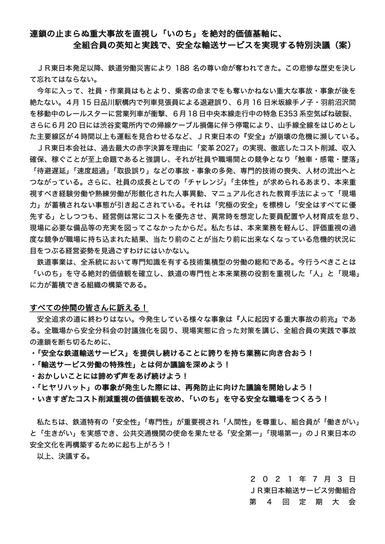 第4回定期大会 特別決議(案)