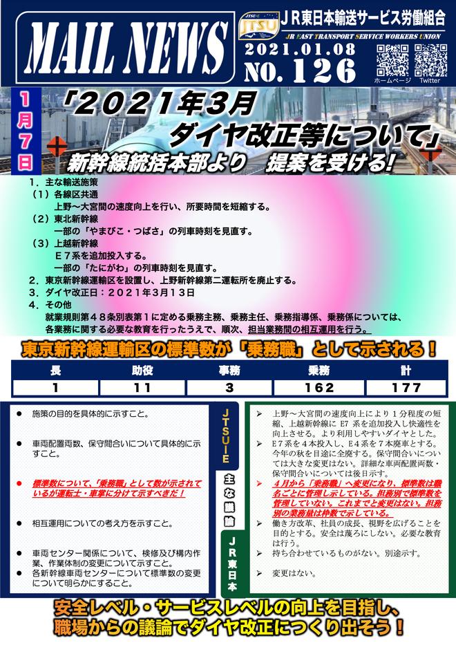 126号  新幹線統括本部より「2021年3月 ダイヤ改正等について」提案受ける!