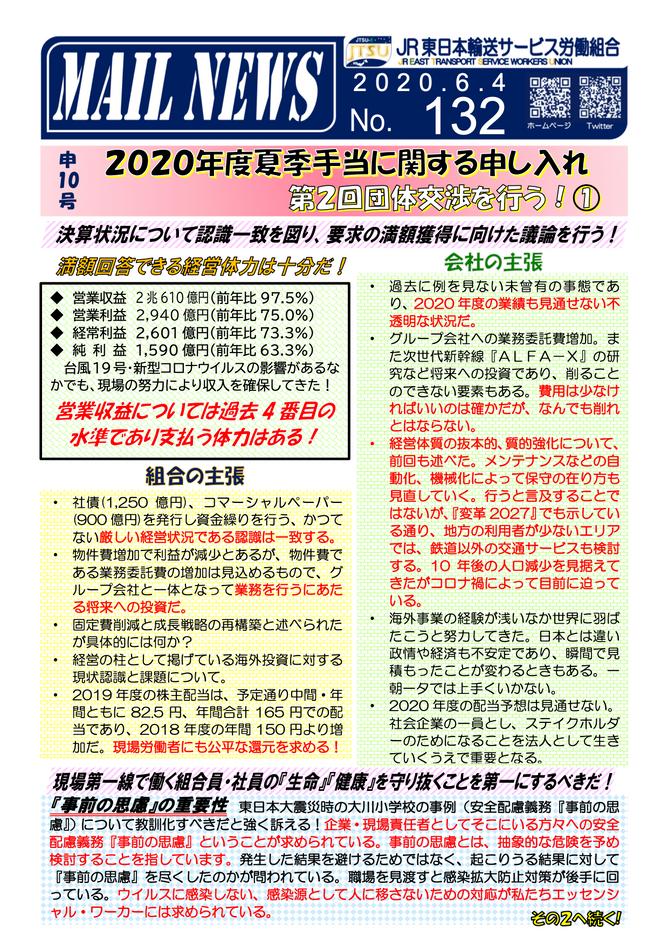 132号 申10号2020年度夏季手当に関する申し入れ第2回交渉を行う!その1