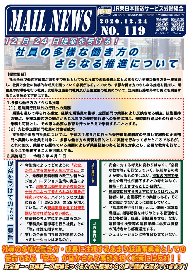 119号 12月24日「社員の多様な働き方のさらなる推進について」提案を受ける!