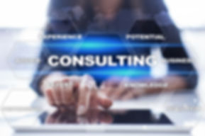 Consulting business concept. Text and ic