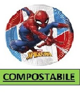 Piatto dessert  20 cm COMPOSTABILE Spiderman Super Hero 8 pz